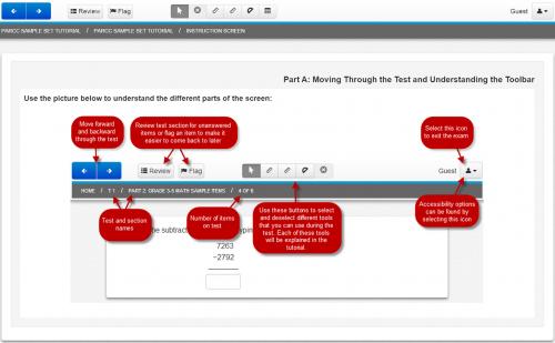 PARCC Sample Set Tutorial / Instruction Screen